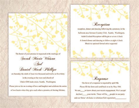 wedding invitation editable template diy wedding invitation template set editable text word