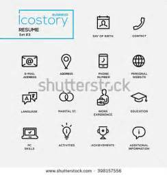 Resume Address Icon Set Modern Vector Plain Simple Thin Stock Vector 398157556