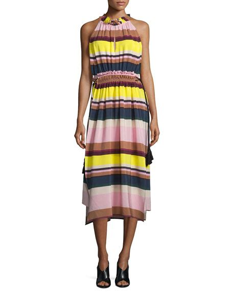 Vsh2008 Dress Stripe Rosa apiece apart la rosa striped midi dress bright lights