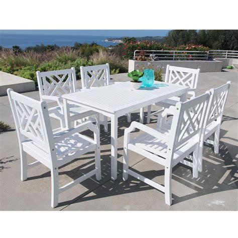 White Patio Dining Sets Vifah Bradley Acacia White 7 Patio Dining Set With 32 In W Table And Herringbone Back