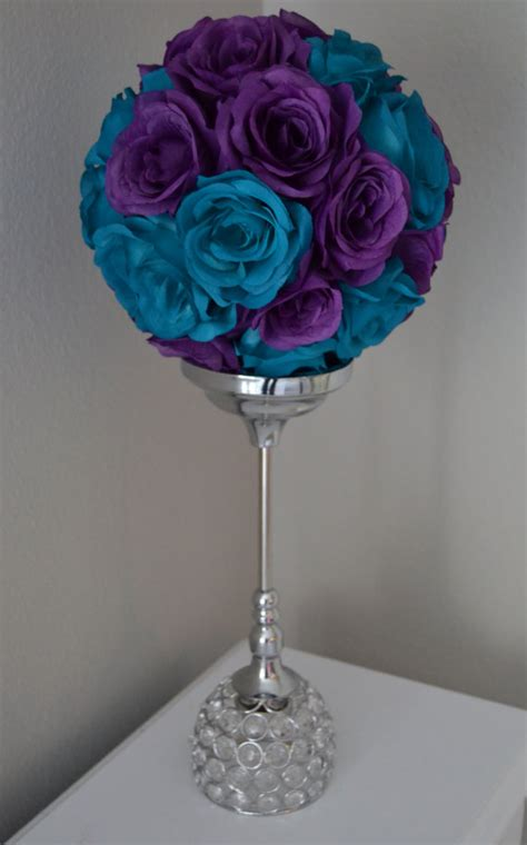 teal and purple decorations teal and purple flower mix wedding centerpiece