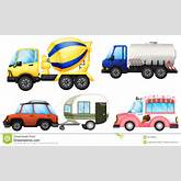 Illustration of the useful vehicles on a white background.