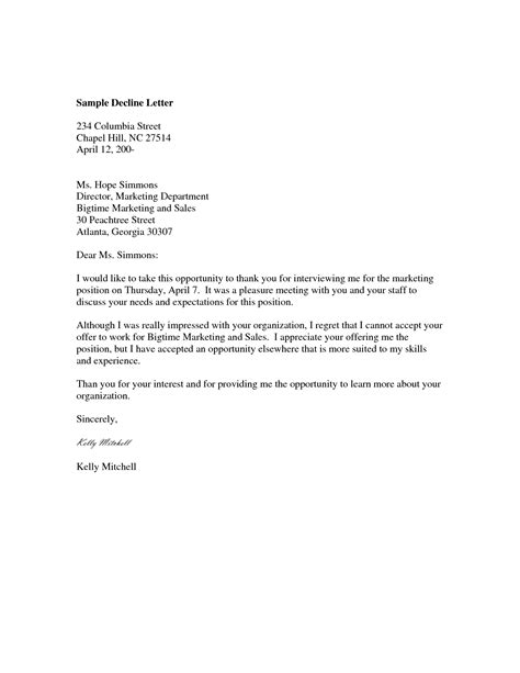decline letter for request sle letter of decline for