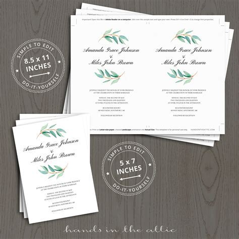 Eucalyptus Wedding Invitation Templates   Hands in the Attic