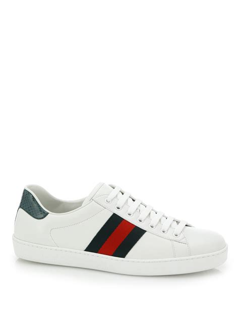gucci sneakers gucci croc detail ace leather sneakers in white for lyst