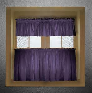 Kitchen Curtain Valance Purple Color Tier Kitchen Curtain Two Panel Set