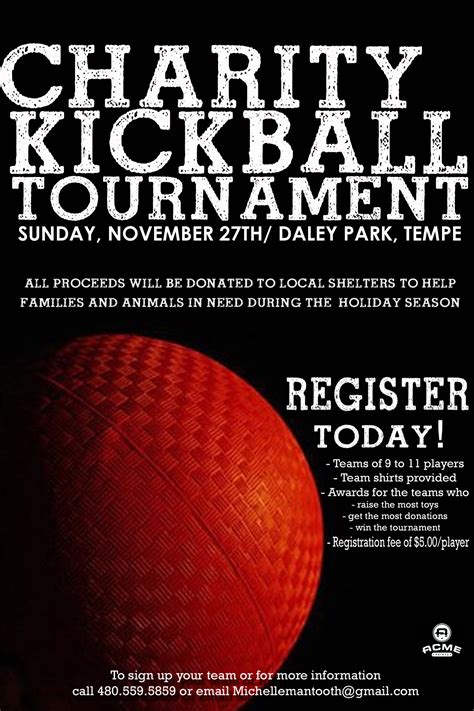 register for the charity kickball tournament today