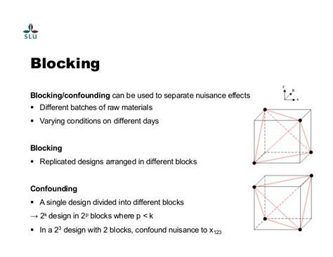 experiment design confounding s3 process product optimization design experiments