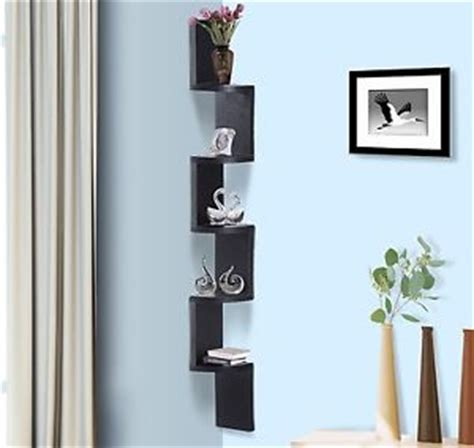 black wall mounted 5 shelves unit hanging corner display