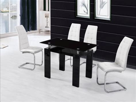 Black Glass High Gloss Dining Table And 4 Chairs Homegenies Gloss Black Dining Table