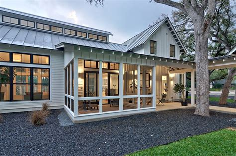 Board And Batten House Plans by Modern Farmhouse Screened In Porch With Standing Seam Roof