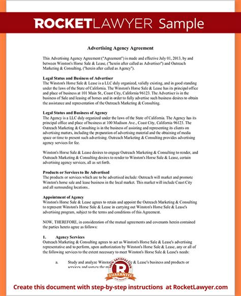 advertising contract template 6 advertising contract templatereport template document
