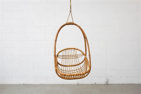 hanging basket chair retro hanging bamboo egg basket chair at 1stdibs