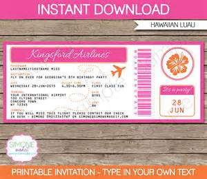 Free Boarding Pass Invitation Template by Luau Boarding Pass Invitations Template Birthday
