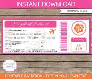 luau boarding pass invitations template birthday party