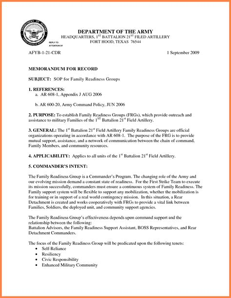 us army memorandum for record template memorandum format army exles and forms