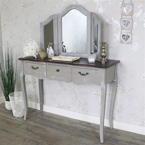 grey mirrored dressing table large grey dressing table and triple mirror set french