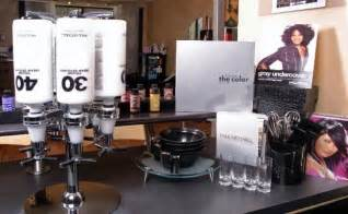 the hair and color bar salon color bar using real liquor bottle dispensers for