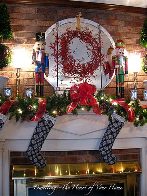 image of christmas mantle with nutcracker brick nutcracker mantle december decor nutcrackers mantles and bricks