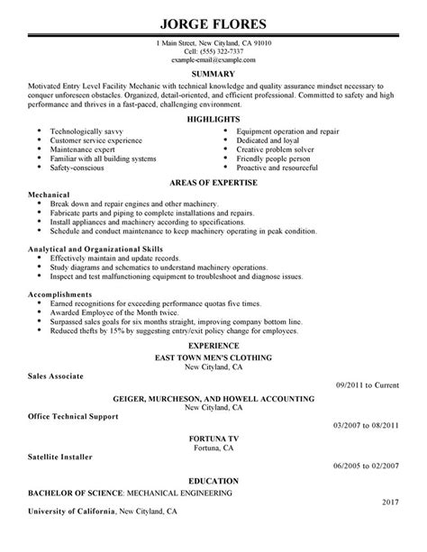 entry level mechanic resume exle maintenance janitorial sle resumes livecareer