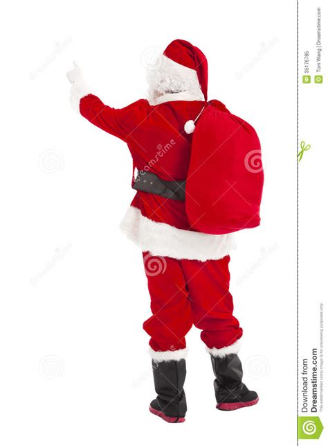 free dancing christmas cards santa claus pointing and rear view royalty free stock