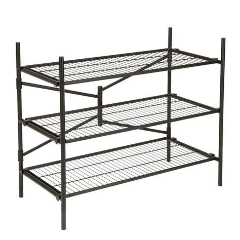folding shelves cosco 3 shelf 43 in w x 36 in h x 21 in d steel folding shelving unit 66713blk1e the home depot