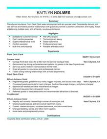 front desk clerk resume sle my resume