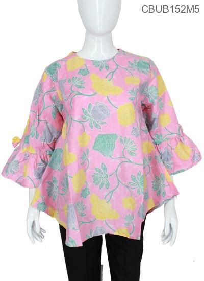 Blus Katun Motif Bunga Murah blus lonceng katun motif bunga blus tanggung murah