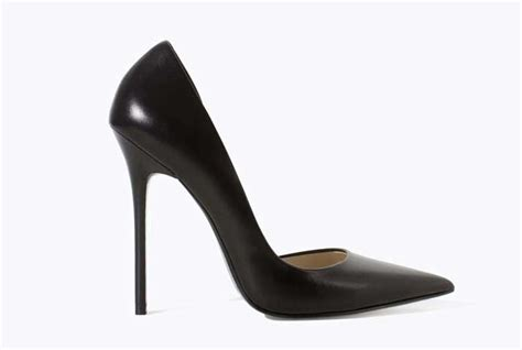 zara black leather pointed court shoes gt shoeperwoman
