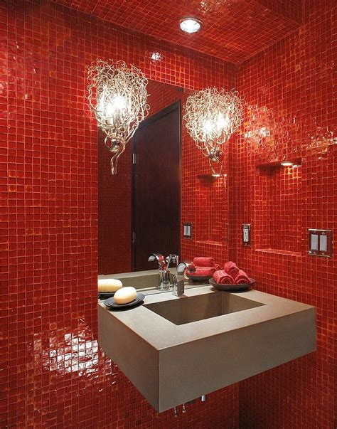 Red Bathroom | 21 sensational bathrooms with the ravishing flair of red