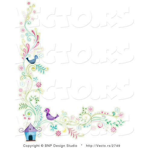 house border design vector of floral vines with two birds beside a house border background design by bnp