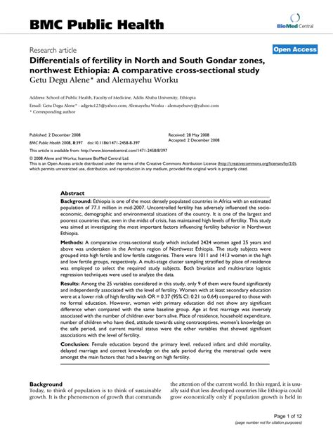 cross sectional study pdf differentials of fertility in north and south gondar zones