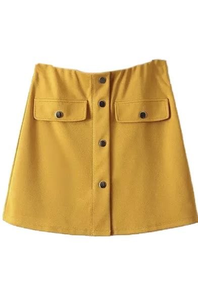 High Waist A Line Mini Skirt high waist plain single breasted a line mini skirt