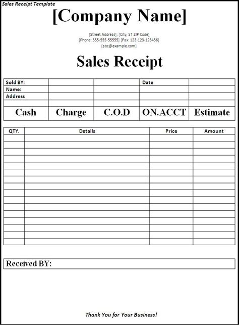 Free Sales Template receipt templates archives word templates
