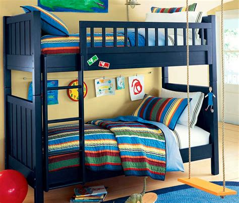 Theme Bunk Beds Bunk Bed For Boys With Blue Wooden Color Theme With Stairs Home Interior Exterior