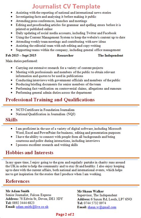 journalist resume template journalist cv template 2