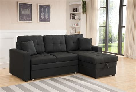 pullout sofa chaise black linen sofa sectional w pullout bed chaise storage