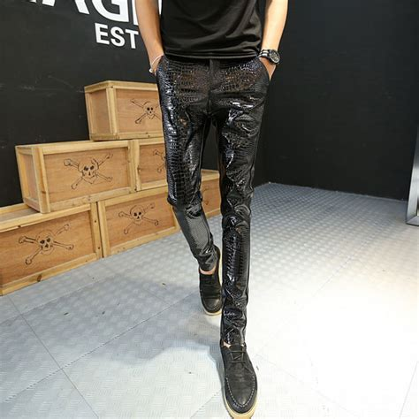 cool pattern jeans new hot motorcycle leather joggers fashion mens punk