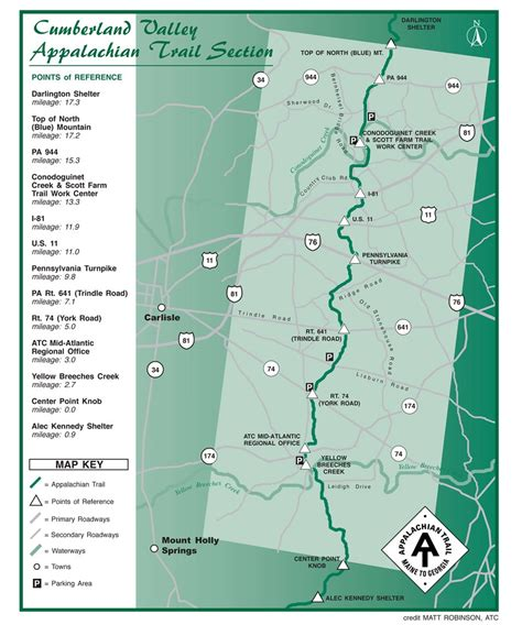 appalachian trail sections appalachian trail section map