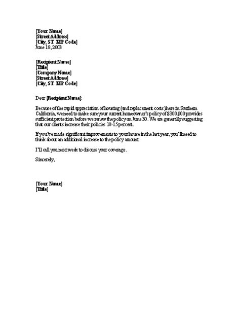 Insurance Policy Letter Format In Word Increase Insurance Coverage Reminder Letter Professional Letters Templates