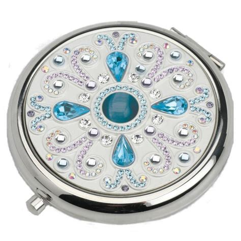 azure blue silver luxury compact mirror with austrian