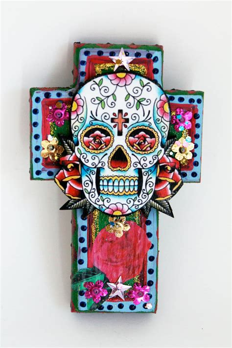 Day Of The Dead Kitchen Decor by Mexican Sugar Skull On Wooden Cross Roygbiv Pink Baby Blue