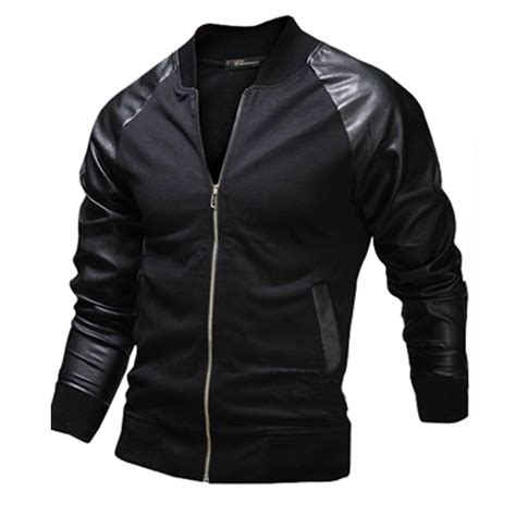 new jacket design new black bomber jacket men 2015 fashion design pu leather