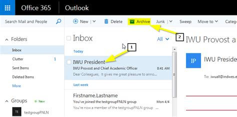 Office 365 Archive by Archiving Email In Office 365 Indiana Wesleyan