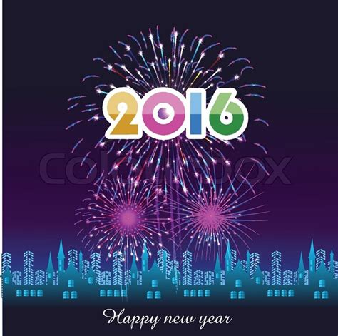 Mesin Foto Copy Tahun 2016 happy new year 2016 with fireworks background stock