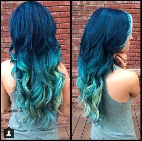 is the hairstyle where you only dye your bottom blond still really in style the different shades of blue sigh hair pinterest