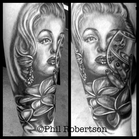 marilyn monroe skull tattoo designs marilyn skull portrait by phil robertson tattoonow