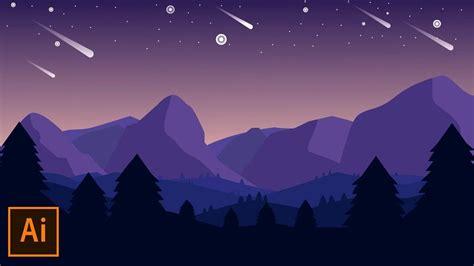 illustrator tutorial mountain landscape flat design