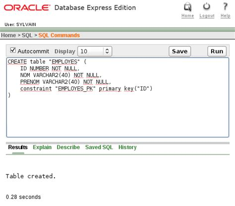 Create Table In Oracle by Installer Oracle Xe Chicoree