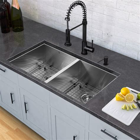 kitchen sink and edison matte black pull down spray